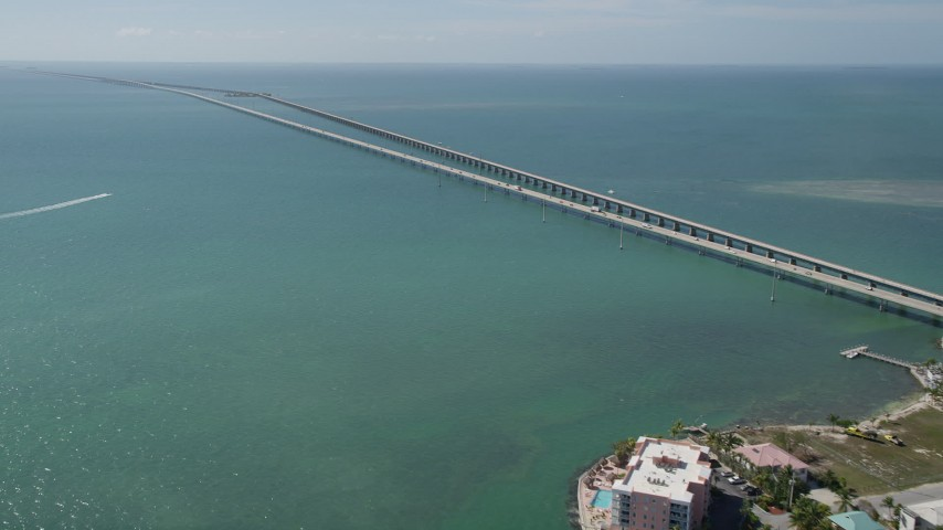 5K stock footage aerial video of approaching Seven Mile Bridge past Knight's Key, Marathon, Florida Aerial Stock Footage | AX0026_014
