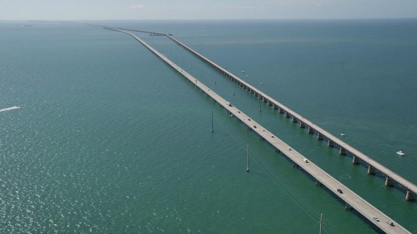5K stock footage aerial video of the Seven Mile Bridge, Marathon, Florida Aerial Stock Footage   AX0026_015