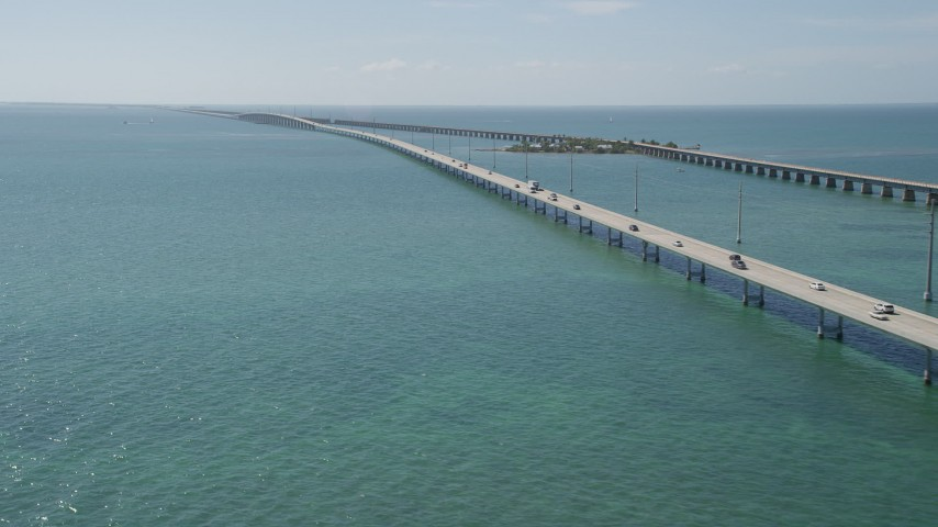 5K stock footage aerial video of light traffic crossing the Seven Mile Bridge, Florida Aerial Stock Footage | AX0026_019