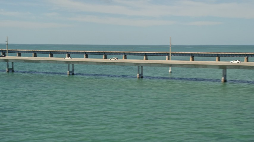 5K stock footage aerial video of a view of light traffic on the Seven Mile Bridge, Florida Aerial Stock Footage | AX0026_020