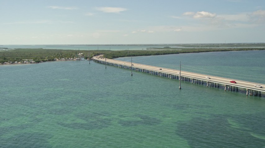 5K stock footage aerial video of Overseas Highway bridge near the Big Pine Key Fishing Lodge, Big Pine Key, Florida Aerial Stock Footage | AX0026_044