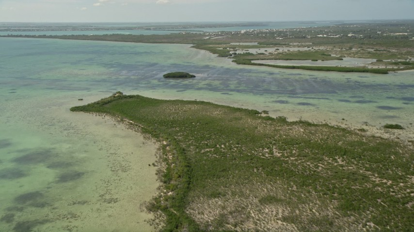 5K stock footage aerial video of flying over Coupon Bight mangroves, Big Pine Key, Florida Aerial Stock Footage | AX0026_047