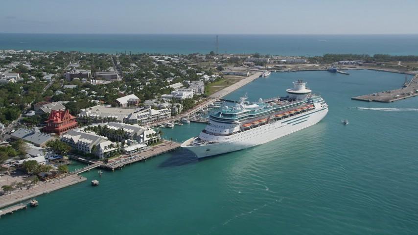 Royal Caribbean Cruise Ship Docked Key West Florida Aerial - Cruise ship key west