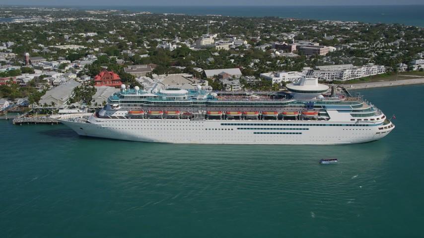 By A Royal Caribbean Cruise Ship Docked Key West Florida Aerial - Cruise ship key west