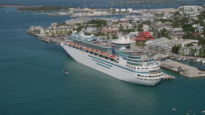 A Royal Caribbean Cruise Ship Docked Key West Florida Aerial - Cruise ship key west