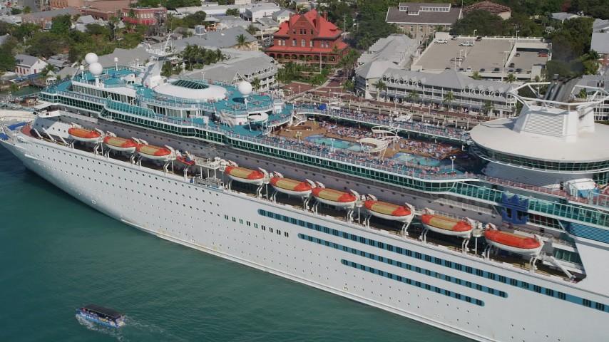 Flying By Royal Caribbean Cruise Ship Docked Key West Florida - Flying cruise ship