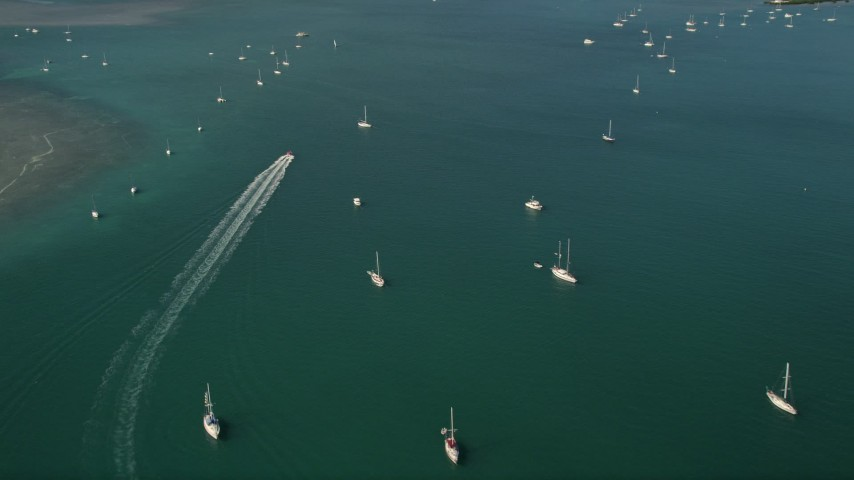 5K stock footage aerial video tilt from ocean revealing sailboats moored off the shore of Key West, Florida Aerial Stock Footage | AX0026_082