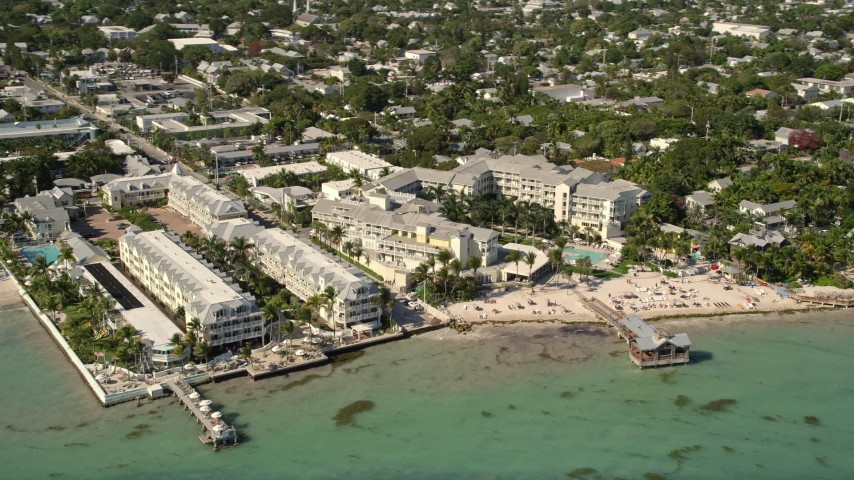 5K stock footage aerial video of The Reach - A Waldorf Astoria Resort on the shore of Key West, Florida Aerial Stock Footage | AX0026_114