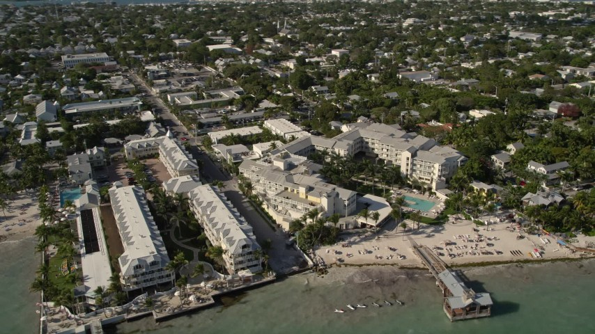 5K stock footage aerial video of flying by The Reach, A Waldorf Astoria Resort, Key West, Florida Aerial Stock Footage | AX0027_009