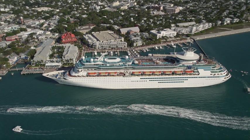 By Royal Caribbean Cruise Ship Docked Key West Florida Aerial - Flying cruise ship