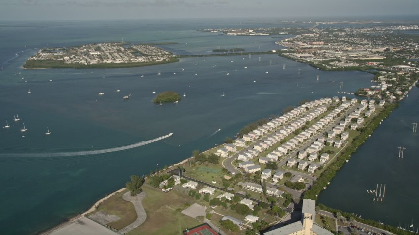 Flying over trumbo point approaching sigsbee park key for Florida fishing license military