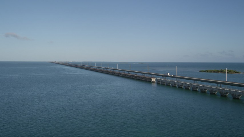 5K stock footage aerial video of flying by Seven Mile Bridge, Florida Aerial Stock Footage | AX0027_074