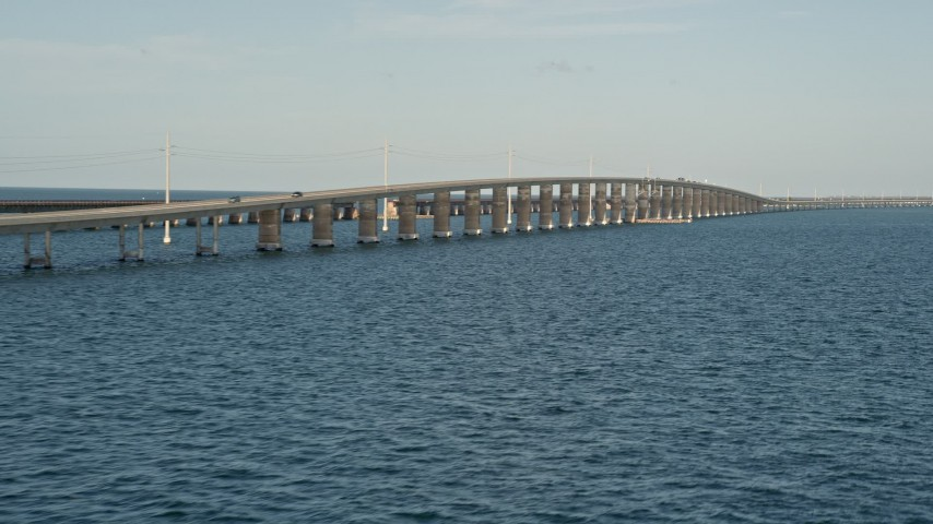 5K stock footage aerial video of flying by a rise in Seven Mile Bridge, Florida Aerial Stock Footage | AX0027_080