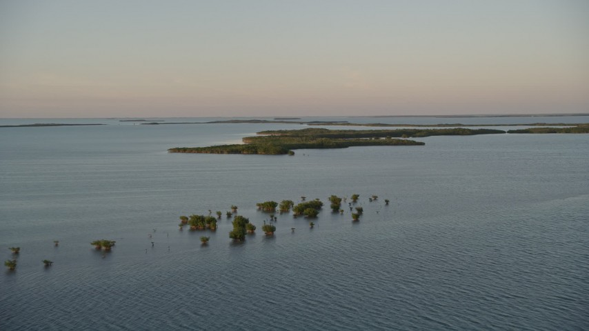 5K stock footage aerial video of flying over clusters of mangroves at sunset, Islamorada, Florida Aerial Stock Footage | AX0028_024E