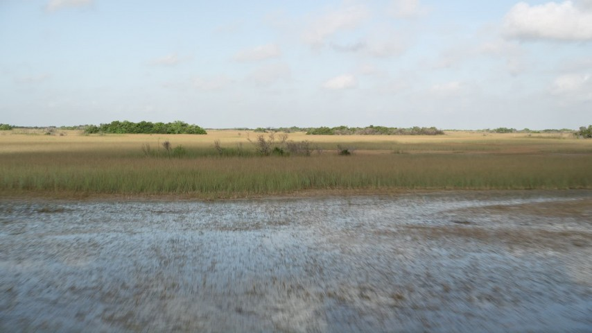 5K stock footage aerial video of flying low over marshland, Florida Everglades, Florida Aerial Stock Footage | AX0030_028