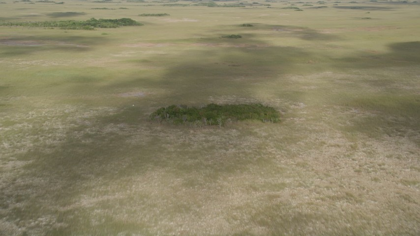 5K stock footage aerial video of flying over cloud shadows on marshland, Florida Everglades, Florida Aerial Stock Footage | AX0030_033