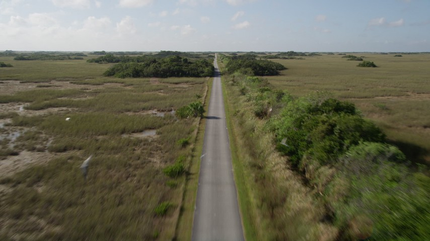 5K stock footage aerial video of following a country road through the Florida Everglades, Florida Aerial Stock Footage   AX0030_045