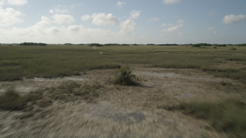 5K stock footage aerial video of flying over marshland, Florida Everglades, Florida Aerial Stock Footage | AX0030_048