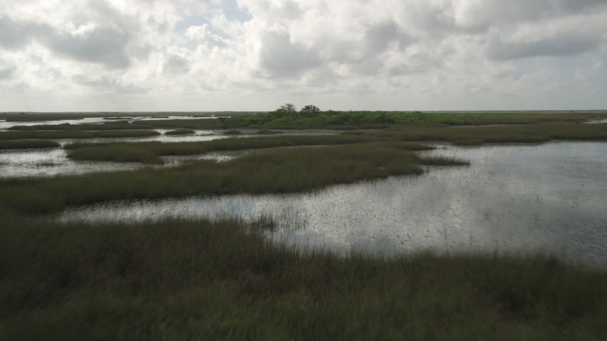 5K stock footage aerial video of flying low over marshes, revealing huts hidden in trees, Florida Everglades, Florida Aerial Stock Footage | AX0030_078