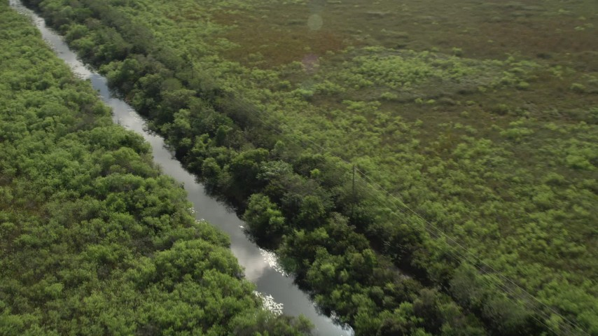 5K stock footage aerial video of flying over a river in the Florida Everglades, Florida Aerial Stock Footage | AX0030_090