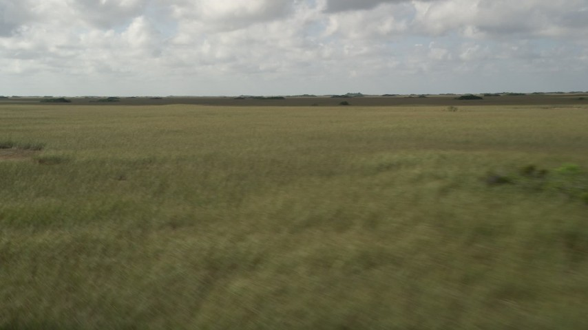 5K stock footage aerial video of flying by a marshland, Florida Everglades, Florida Aerial Stock Footage | AX0030_094