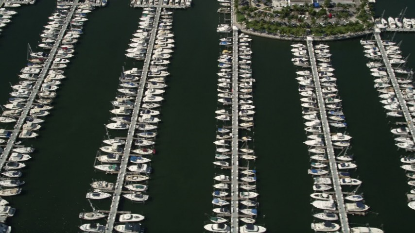 5K stock footage aerial video of flying by boats docked at Dinner Key, Coconut Grove, Florida Aerial Stock Footage   AX0031_016
