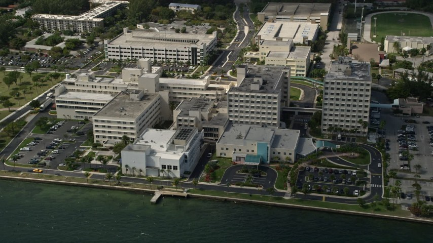 5K stock footage aerial video of Mercy Hospital in Coconut Grove, Florida Aerial Stock Footage   AX0031_018