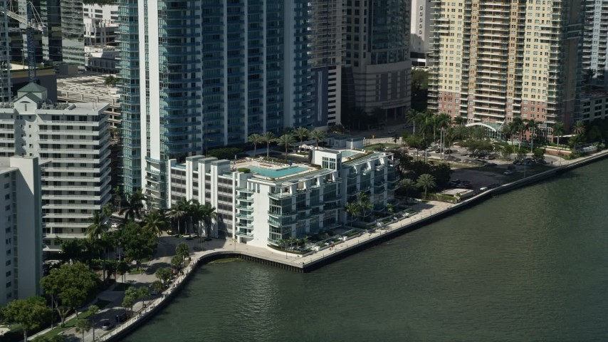5K aerial video of flying by Jade at Brickell Bay, Downtown Miami, Florida Aerial Stock Footage | AX0031_023