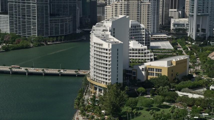 5K stock footage aerial video of Mandarin Oriental on Brickell Key, Downtown Miami, Florida Aerial Stock Footage | AX0031_024
