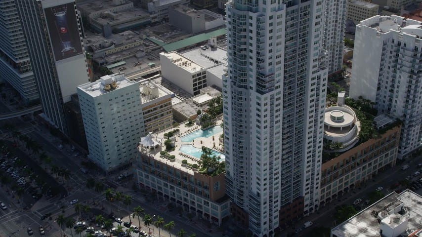 5K stock footage aerial video of flying by North and South Tower of Vizcayne, Downtown Miami, Florida Aerial Stock Footage | AX0031_028