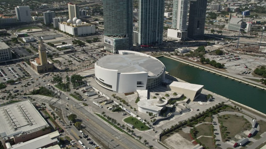 5K stock footage aerial video of approaching American Airlines Arena, Downtown Miami, Florida Aerial Stock Footage | AX0031_039