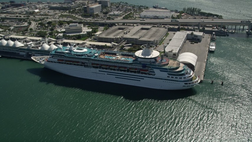 5K stock footage aerial video of orbiting a cruise ship docked, Port of Miami, Florida  Aerial Stock Footage | AX0031_040
