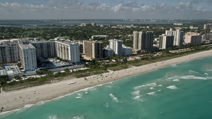 5K stock footage aerial video of The Perry South Beach, South Beach, Miami Beach, Florida Aerial Stock Footage | AX0031_056