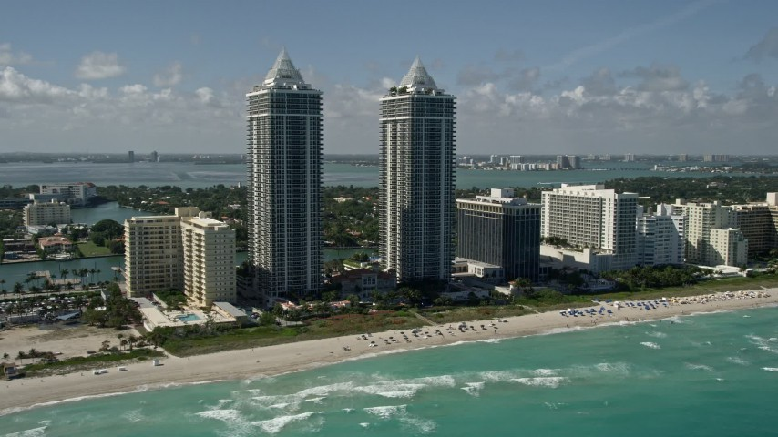 5K aerial video flyby Blue and Green Diamonds, Miami Beach, Florida Aerial Stock Footage | AX0031_060