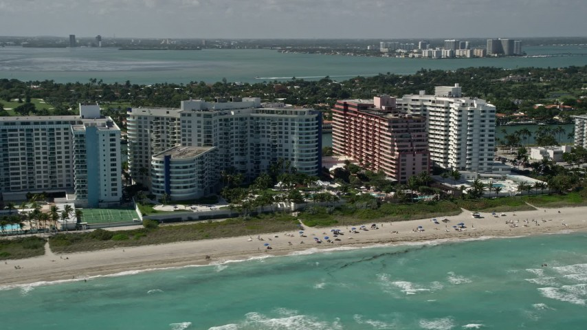 5K stock footage aerial video of apartments, The Alexander All Suite Oceanfront Resort, Miami Beach, Florida Aerial Stock Footage | AX0031_061
