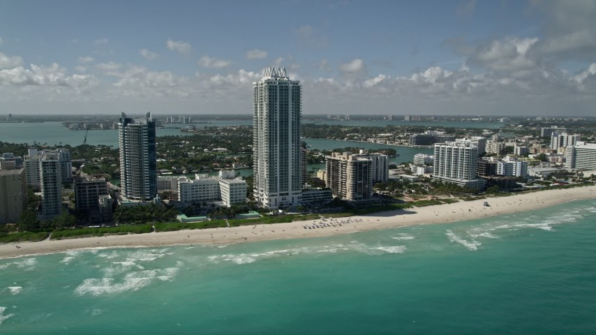 5K aerial video of Akoya Miami Beach Condo, Miami Beach, Florida Aerial Stock Footage AX0031_064