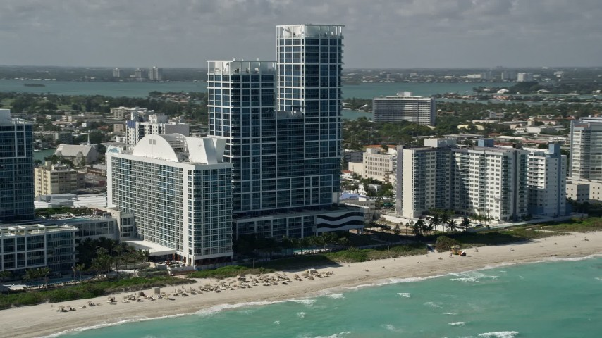 5K stock footage aerial video of Canyon Ranch Hotel and Spa, Canyon Ranch Condo, Miami Beach, Florida Aerial Stock Footage | AX0031_065