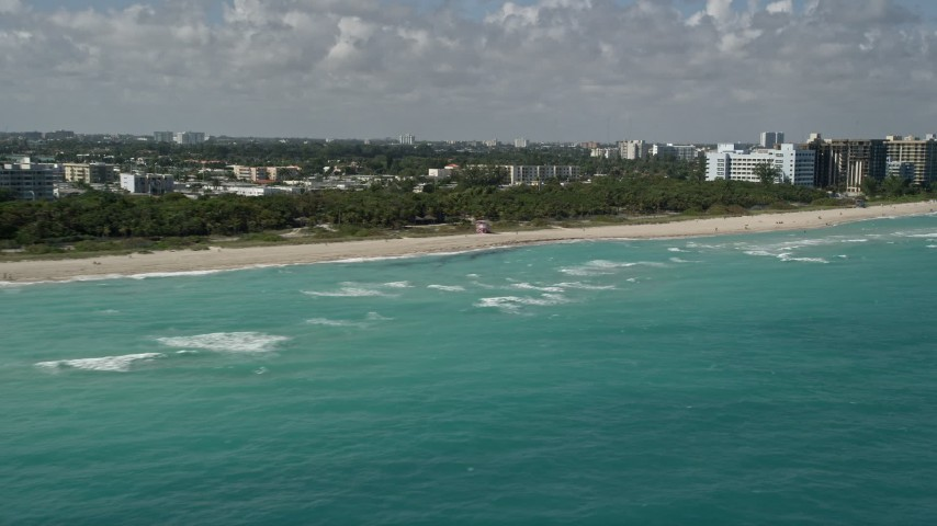 5K stock footage aerial video of flying by North Shore Open Space Park, Miami Beach, Florida Aerial Stock Footage   AX0031_066