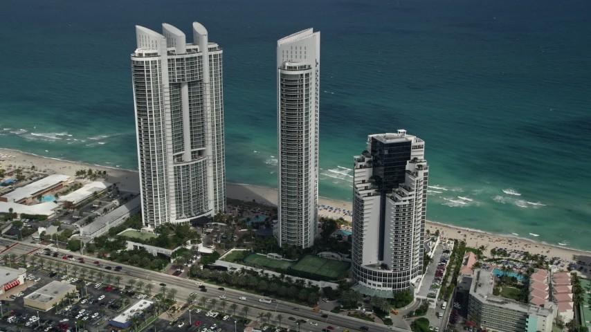 5K stock footage aerial video of Trump International Beach Resort, Sunny Isles Beach, Florida Aerial Stock Footage | AX0031_084
