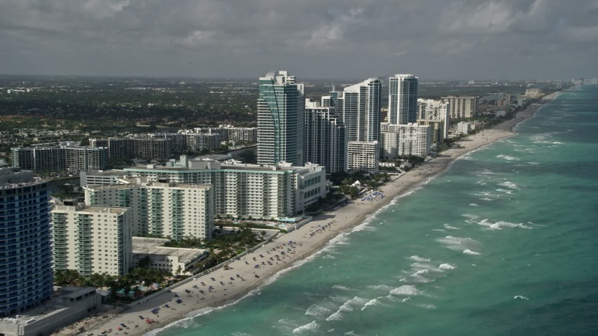 5K stock footage aerial video of approaching The Westin Diplomat Resort and Spa, Hallandale Beach, Florida Aerial Stock Footage AX0031_090 | Axiom Images