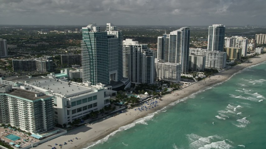 5K stock footage aerial video of The Westin Diplomat Resort and Spa, Hallandale Beach, Florida Aerial Stock Footage | AX0031_091