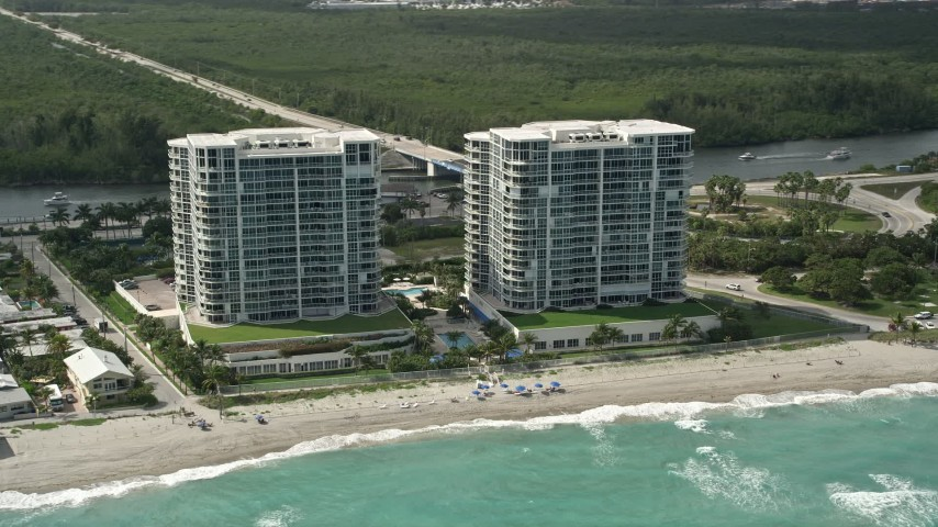 5K stock footage aerial video of tracking Renaissance on the Ocean condominium complexes, Hollywood, Florida Aerial Stock Footage | AX0031_098