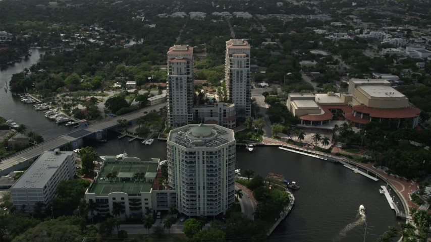 5K stock footage aerial video fly over New River, approach condominiums, Downtown Fort Lauderdale, Florida Aerial Stock Footage | AX0031_117