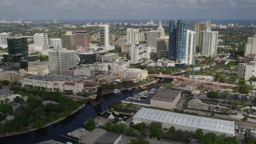 5K stock footage aerial video of flying by Downtown, approaching Las Olas River House, Fort Lauderdale, Florida Aerial Stock Footage | AX0031_119