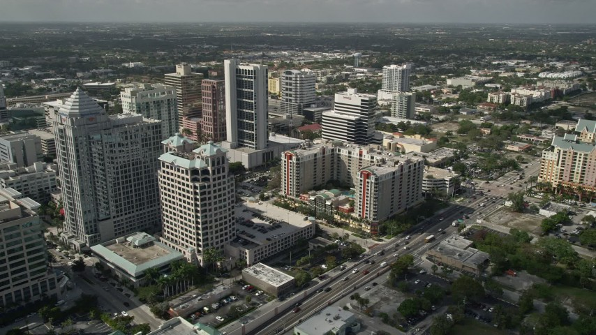 5K stock footage aerial video of flying by Downtown skyscrapers, Marriott ExecuStay, Fort Lauderdale, Florida Aerial Stock Footage | AX0031_127