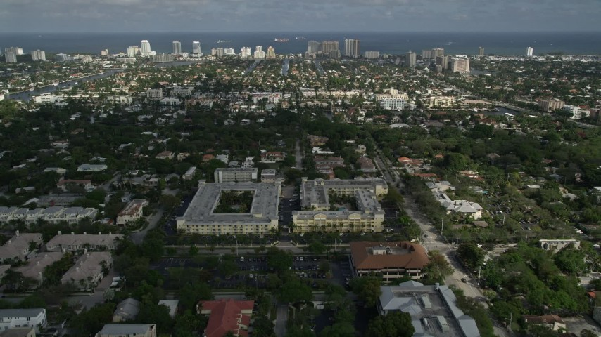 5K aerial video of approaching apartment buildings, Fort Lauderdale, Florida Aerial Stock Footage | AX0031_131