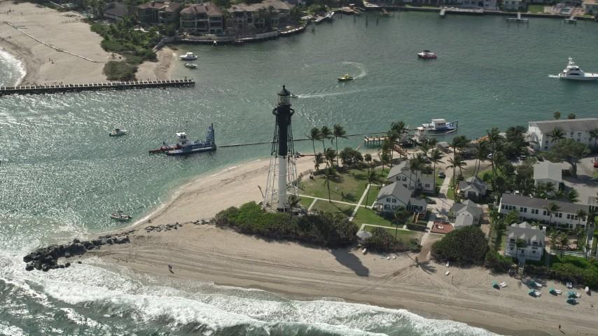 5K stock footage aerial video of orbiting the Hillsboro Inlet Light, Hillsboro Beach, Florida Aerial Stock Footage | AX0031_156