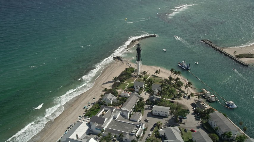 5K stock footage aerial video of orbiting the Hillsboro Inlet Light, Hillsboro Beach, Florida Aerial Stock Footage | AX0031_157