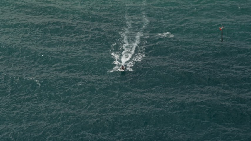 5K stock footage aerial video of tracking a speedboat, Hillsboro Beach, Florida Aerial Stock Footage | AX0031_160