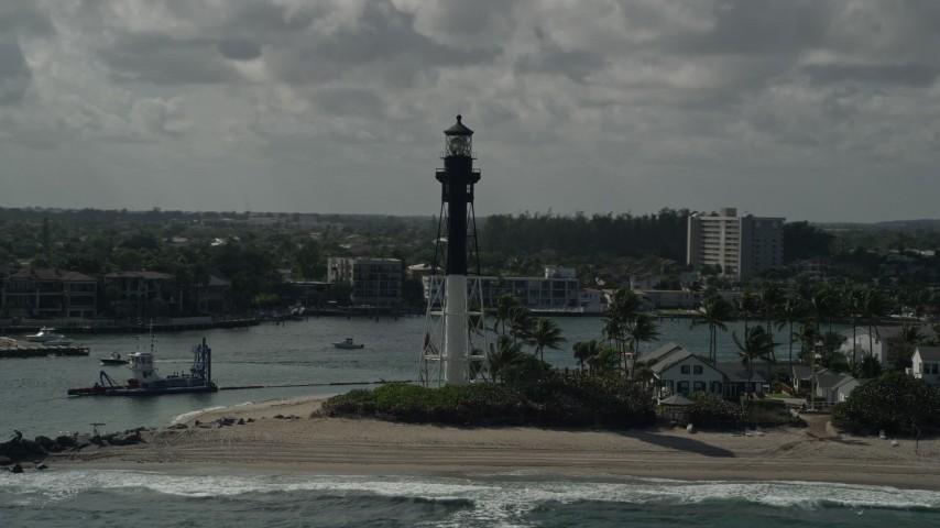 5K stock footage aerial video of orbiting the Hillsboro Inlet Light, Hillsboro Beach, Florida Aerial Stock Footage | AX0031_172E